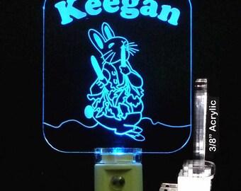 Peter Rabbit Personalized LED Night Light - Kids Lamp, Easter