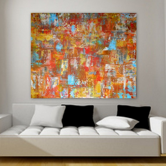 "50"" x 40"" original abstract contemporary modern painting on canvas wall art decor orange red yellow blue gray white"