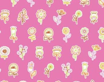 "LAMINATED Cotton  - Pink Flower Lollipop, 56"" Wide, BPA & PVC Free"
