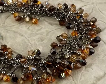 Cinnamon French Toast rich brown gunmetal finish Swarovski Crystal cascade fringe bracelet with a WHOPPING 108 crystals