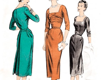 1950s wiggle dress vintage sewing pattern reproduction // formal cocktail // hourglass shape // bust 30 32 34 36 38
