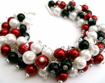 Red Black and White Pearl Bracelet with Earrings, Cluster Bracelet, Classic Colours, Beaded Bracelet, Bridesmaids Gifts, Chunky Bracelet