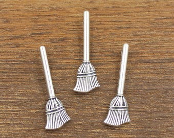 20pcs Broom Charms Antique Silver Tone Double Side 9x27mm - SH533