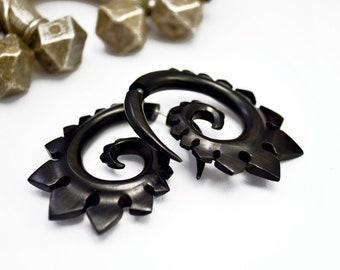 Wood Fake Gauge Earrings Wooden Earrings  Spade Spirals Tribal Earrings - Gauges Fake Plugs   - FG015 DW