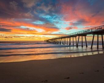 Pier at Sunset on Beach Surf Photography Decor Print, Ocean, Los Angeles, South Bay, Manhattan Pier, Redondo, Hermosa Beach Fine Art