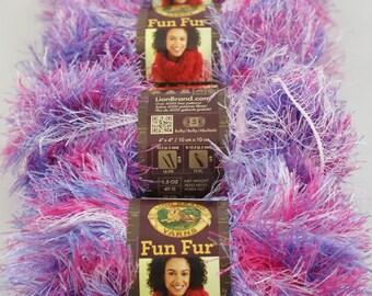 4 Skien Lot Cotton Candy Lion Brand Fun Fur Yarn #300 PINK PURPLE WHITE Eyelash Yarn