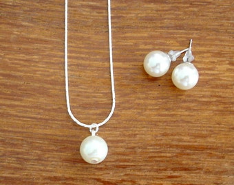 Set of 8 Single Pearl Drop Necklace and Stud Bridesmaid Jewelry Gift Sets - Necklace and Earrings, Weddings