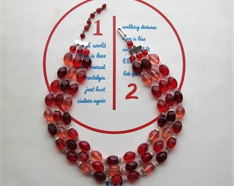 vintage pink and red bead strand necklace, made in West Germany . 3 strand beaded necklace . Valentines Day necklace