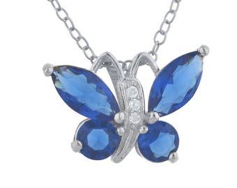 Blue Sapphire Butterfly Pendant .925 Sterling Silver