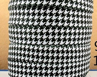 "Black and White Houndstooth Pattern Design Print FOE Ribbon  5/8"" wide Az239"