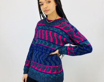Vintage Chunky Colourful Knit Jumper