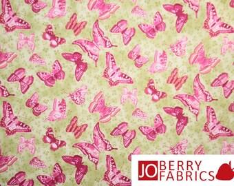 Butterflies on Green Fabric