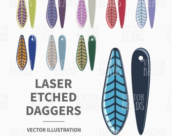 Vector Clipart Set of Laser Etched Dagger Beads - Instant Download
