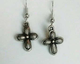 Girls Womens Shiny Silver Color Religious Cross Earrings