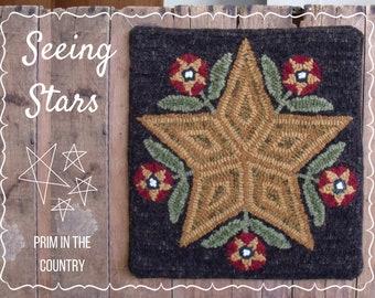 Seeing Stars Mailed Rug Hooking Pattern