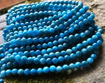 Gemstone Natural Stone beads like Earth,Blue Apatite Round Beads Grade AAA 3.5mm-10mm Full Strands 15.5 inch Blue Round beads XY049