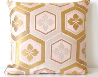 SALE! Large Decorative Pillow Cushion in Metallic Pink, Silver & Gold Geometric Hexagon Design made from rare Japanese Obi Silk  LTD EDITION