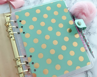 Double Sided Laminated Dashboard  A5 or Personal Size Mint gold dots foil Patterns Planner Accessories Re-Usable Page Marker Bookmark Insert