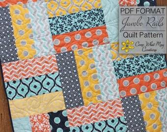 Baby Quilt Pattern, Lap Quilt Pattern, Jumbo Rails Baby Quilt Pattern, Rail Fence Quilt Pattern, Beginner Quilt Pattern, Easy Quilt Pattern
