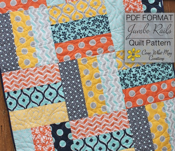 Baby Quilt Pattern Lap Quilt Pattern Jumbo Rails Baby Quilt