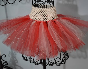 Red and White Sparkly Tutu