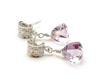 Pink Amethyst Trillion Cut Post Stud CZ Sterling Silver Earrings     for Her Under 130 Delicate Cool Short Amazing Gift for Wife Sister OOAK