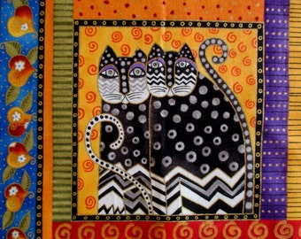 """Large Twin Fantasy Cats Iron On Fabric Applique 7"""""""