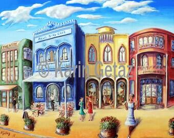 wall decor print, art deco town, cafe scene print, tropical town art, innisfail art deco, blue bird cafe, street scene art, wall art print
