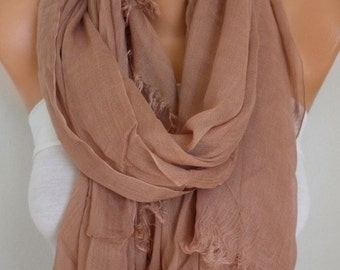 Milky Brown Cotton Scarf,Wedding Shawl,Fall Scarf,Cowl,Bridesmaid Gift,Gift Ideas For Her Women Fashion Accessories,Bridal Scarf,Pareo