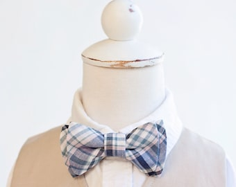 Bow Tie, Bow Ties, Boys Bow Ties, Baby Bow Ties, Bowtie, Bowties, Ring Bearer, Bow ties For Boys, Ties - Navy and Blush Organic Madras Plaid