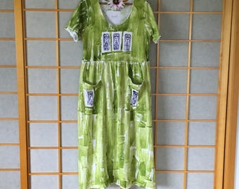 Hawaii Hand Painted Plus Size Maxi Pocket Dress Muumuu Resort Wear