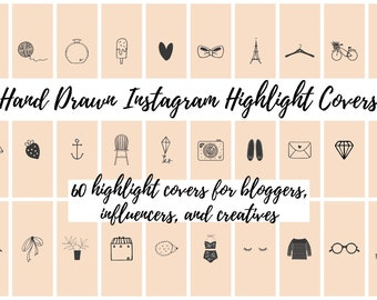 60 Peach Hand Drawn Instagram Story Highlight Cover Icons | Fashion, Beauty, Lifestyle, Decor, Craft, Handmade, Bloggers, Influencers