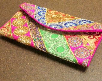 Pink and Green Clutch Purse