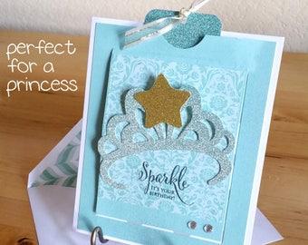 Birthday, Girl, Princess, Card, Handmade, 3-D, Crown, Castle, Slider, Turquoise, Gold, Sparkle, BDay, Glitter