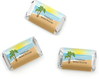 Beach Mini Candy Bar Wrappers - Personalized Bridal Shower & Wedding Hershey® Miniature Candy Bar Sticker Label - Bachelorette Party - 20 Ct