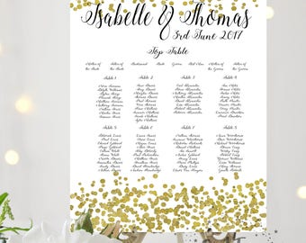 Gold Confetti PRINTABLE Personalised Wedding Table Plan, Seating Chart, glitter digital download, custom print PDF download