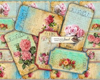 Ticket Flower - digital collage sheet - set of 6 strips  - vintage image