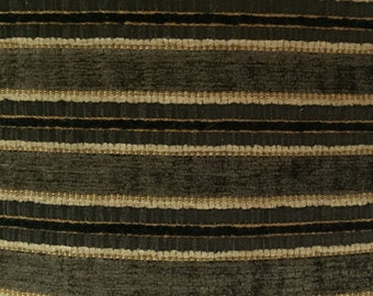 Black, Gold, and Cream Textured Stripe - Upholstery Fabric by the Yard