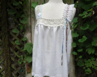Boho Top,Upcycled Top,Victorian Top,Romantic Top,Cottage Chic Top,by Nine Muses Of Crete