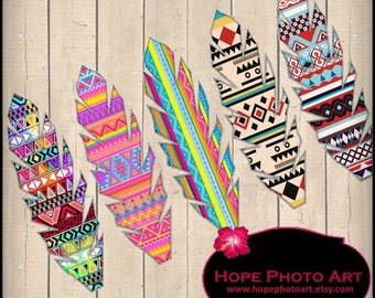 Native American Feathers Tribal Print Digital Collage Sheet 2x7 hang tags greeting cards paper supplies - UPrint 300jpg
