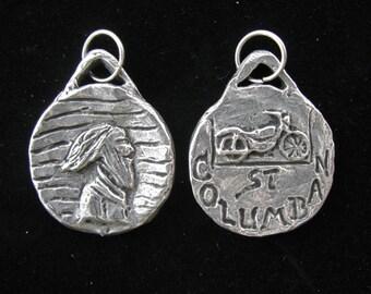 St Columban, Patron / Protector of Motorcyclists, Handmade Medal