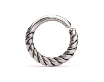 Rope  Nose Ring Silver Septum Ring  Body Jewelry Sterling Silver Boho Jewelry Indian Style 14g 16g - SE032SSO