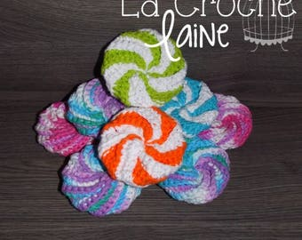 To personnalize - Handmade crochet Tawashi 100% Cotton /  Scouring sponge Made in Quebec
