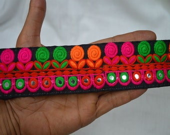 Fabric trims and embellishments Embroidered Trim Indian Laces Decorative Sari Border Sewing Crafting Trim by 2 Yard Trimmings