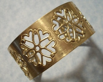 Unfinished Raw Brass Filigree Cuff Bracelet Blank Great for Embellishments, Riveting, Altered Art Projects