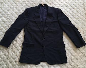 Vintage CHRISTIAN DIOR Monsieur Men's Blue Two Button Blazer Size 41 Jacket Coat