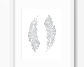 Feather Print, Feather Art, Feather Wall Art, Two Feathers, Silver Art, Wall Print, Silver Feather Print, Gray Feathers, Grey Feathers