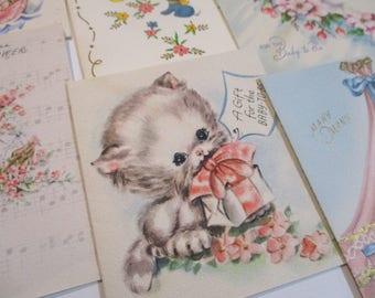 Vintage Greeting Cards Lot-Ephemera-Mixed Media-Paper-Crafts-Scrap Booking-Baby-Childrens-Set of 16-UNUSED