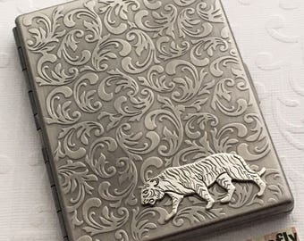 Plated Silver Tiger Metal Cigarette Case Antiqued Silver Vintage Inspired Victorian Steampunk Jungle Animal Edwardian Circus