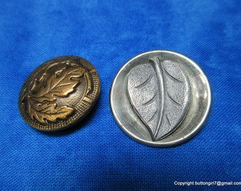 0382 - Two Vintage Buttons including Brass Acorns and Oak Leaves Motif as well as White Metal Dogwood Leaf Motif